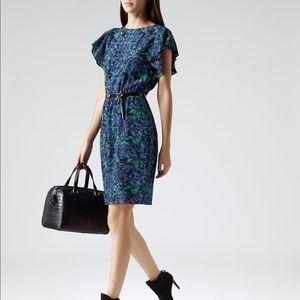 Reiss Blue Garland Silk Floral Print Dress